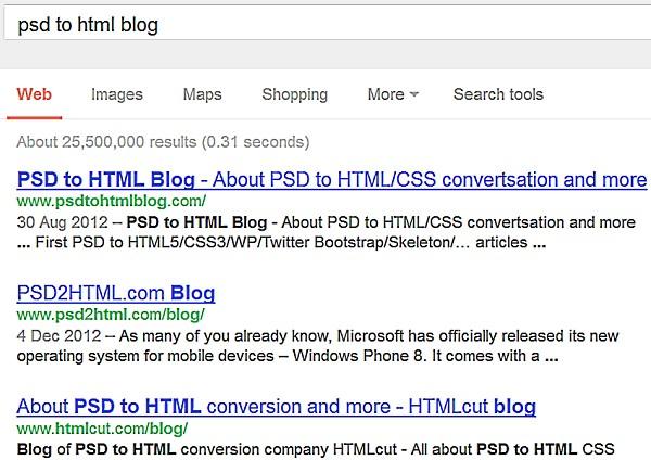 Strange Google results - screen shot
